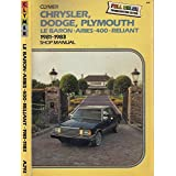 Image for Chrysler Dodge Plymouth: Lebaron, Aries, 400 Reliant 1981 1987