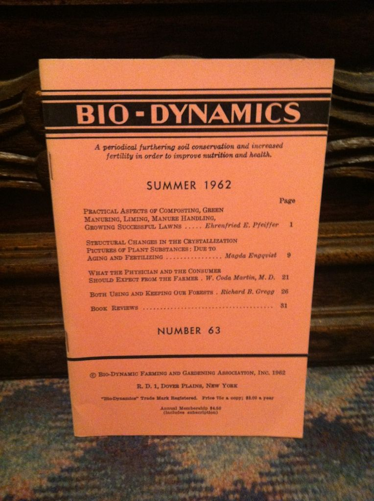 Image for Bio-Dynamics Number 63, Winter 1962: A Periodical Furthering Soil Conservation and Increased Fertility In Order to Improve Nutrition and Health