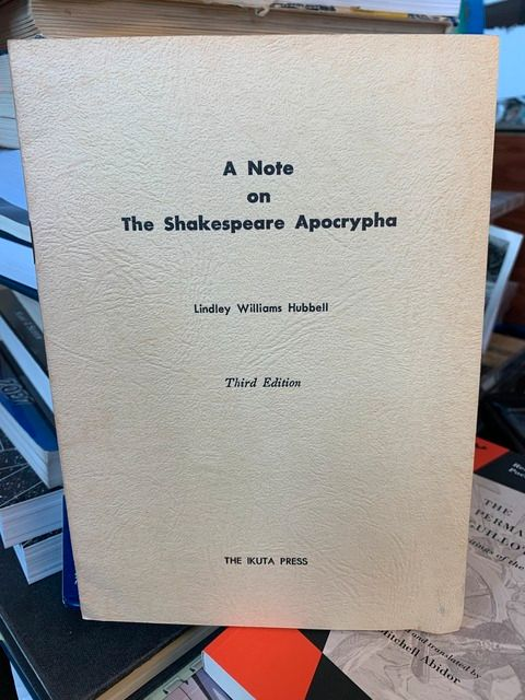 Image for A Note on the Shakespeare Apocrypha