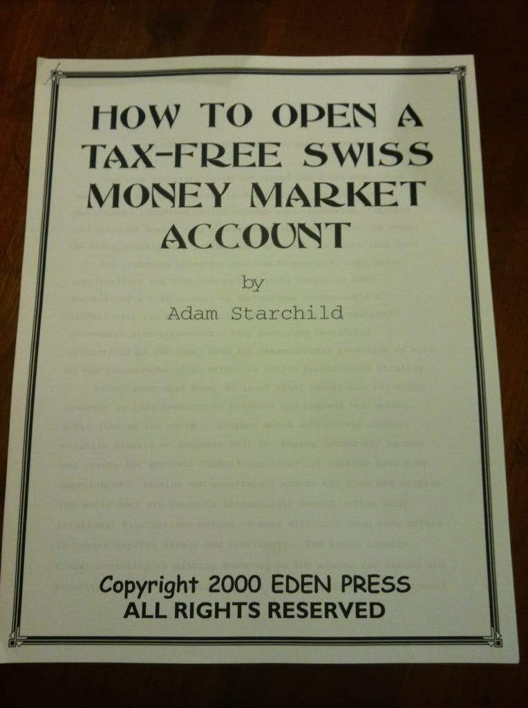 Image for How to Open a Tax-Free Swiss Money Market Account by Starchild, Adam